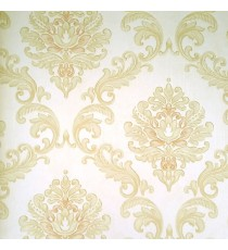 Beige color background texture finished with golden brown color beautiful traditional big damask designs embossed pattern swirls pattern wallpaper