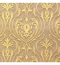 Gold brown color beautiful big damask design texture surface floral swirls clear pattern grant look home décor wallpaper