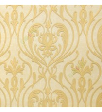 Gold beige color beautiful big damask design texture surface floral swirls clear pattern grant look home décor wallpaper