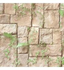 Brown green cream color natural stone green grass ferns cynodon dactylon grass herbs mushroom wall cladding home décor wallpaper