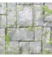 Grey green black color natural stone green grass ferns cynodon dactylon grass herbs mushroom wall cladding home décor wallpaper