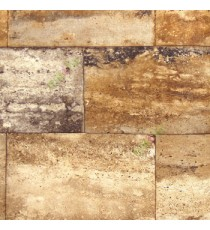 Brown gold beige black color geometric shapes square rectangle marvel hollow blocks texture finished surface home décor wallpaper