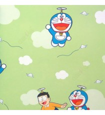 Green red black yellow white color kids designs flying Doraemon and nobi nobita paper plane flowing trendy lines clouds home décor wallpaper