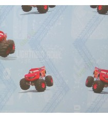 Blue red white yellow color kids design cars big wheels zigzag roads texture surface home décor wallpaper