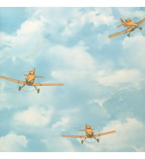 Blue red white yellow color kids designs fighter propeller plane flying in the sky clouds sky eyes circles wheels texture surface home décor wallpaper
