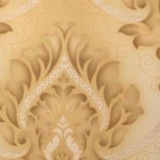Gold Cream Grey Brown Color Beautiful Big Size Damask Design Floral Swirls Embossed Finished Small Dots Carved Designs Home Decor Wallpaper