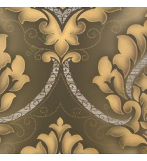 Dark brown gold silver black color beautiful big size damask design floral swirls embossed finished small dots carved designs home décor wallpaper
