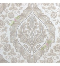 Grey beige cream brown color beautiful big damask traditional design elegant flower leaf swirls flower buds embossed finished carved texture wallpaper