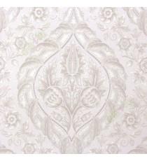 Grey beige gold color beautiful big damask traditional design elegant flower leaf swirls flower buds embossed finished carved texture wallpaper