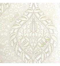 Grey brown cream color beautiful big damask traditional design elegant flower leaf swirls flower buds embossed finished carved texture wallpaper