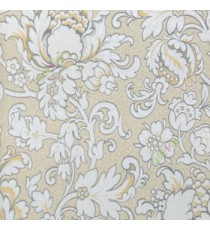 Yellow grey cream color traditional damask flower buddy pattern floral designs big leaf small flower buds grant look home décor wallpaper