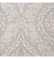 Pink grey beige color beautiful big damask traditional design elegant flower leaf swirls flower buds embossed finished carved texture wallpaper