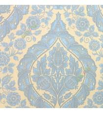 Blue gold color beautiful big damask traditional design elegant flower leaf swirls flower buds embossed finished carved texture wallpaper