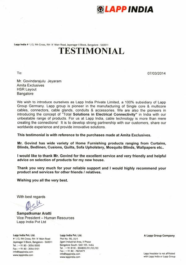 Lapp-India-Testimonial-Review